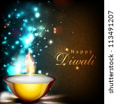 greeting card for diwali... | Shutterstock .eps vector #113491207