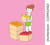 cartoon cute woman trader and...   Shutterstock .eps vector #1134922463