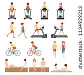 people at the gym exercising ... | Shutterstock .eps vector #1134929213