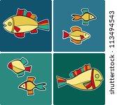 set of backgrounds with cartoon ... | Shutterstock .eps vector #113494543