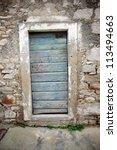 Blue Door In Old Stone House ...