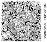 cartoon vector doodles space... | Shutterstock .eps vector #1134954683