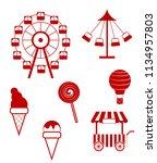 vector set of amusment park... | Shutterstock .eps vector #1134957803