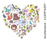 pattern with cute forest and... | Shutterstock .eps vector #1134976397