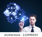 man drawing gears on a blue... | Shutterstock . vector #113498323