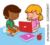 students doing homework using a ... | Shutterstock . vector #1135030847
