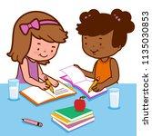 students doing homework | Shutterstock . vector #1135030853