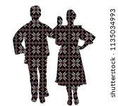 folklore dancers in patterned... | Shutterstock . vector #1135034993