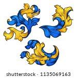 a set of floral filigree... | Shutterstock .eps vector #1135069163