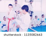 two young boys training in... | Shutterstock . vector #1135082663