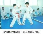 pair of boys fighting in... | Shutterstock . vector #1135082783