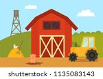farm building with animals.... | Shutterstock .eps vector #1135083143