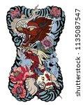 japanese tattoo design full... | Shutterstock .eps vector #1135087547