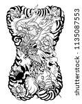 japanese tattoo design full... | Shutterstock .eps vector #1135087553