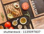 ingredients for cooking italian ... | Shutterstock . vector #1135097837