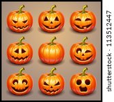 set pumpkins for halloween | Shutterstock .eps vector #113512447