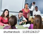 cheerful friendly smiling girls ... | Shutterstock . vector #1135126217