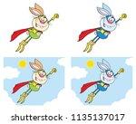 rabbit super hero cartoon... | Shutterstock .eps vector #1135137017