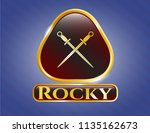 gold emblem with crossed... | Shutterstock .eps vector #1135162673