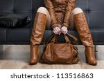 detail of sitting woman in... | Shutterstock . vector #113516863