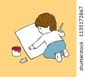 cartoon cute little artist boy...   Shutterstock .eps vector #1135172867