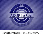 adopt a cat with jean texture | Shutterstock .eps vector #1135174097