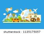 travel around the world ... | Shutterstock .eps vector #1135175057