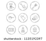 soup ladle  potholder and... | Shutterstock .eps vector #1135192397