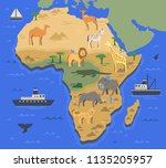 stylized africa map with... | Shutterstock .eps vector #1135205957