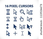 16 pixel cursors icons set, vector - stock vector