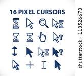16 pixel cursors icons set ... | Shutterstock .eps vector #113526673