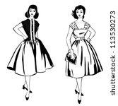 stylish fashion dressed girls ...   Shutterstock .eps vector #113530273