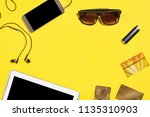 tablet pc  smartphone earphones ... | Shutterstock . vector #1135310903