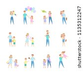 set of family leisure with... | Shutterstock .eps vector #1135312247