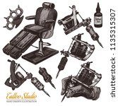 vector hand drawn tattoo studio ... | Shutterstock .eps vector #1135315307