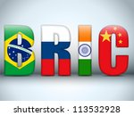 Vector - BRIC Countries Buttons Brazil Russia India China - stock vector