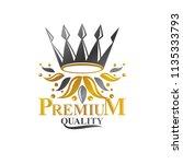 majestic crown emblem. heraldic ... | Shutterstock .eps vector #1135333793