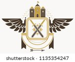 classy emblem made with eagle... | Shutterstock .eps vector #1135354247