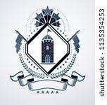 classy emblem  vector heraldic... | Shutterstock .eps vector #1135354253
