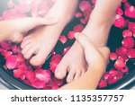 foot spa massage treatment by...   Shutterstock . vector #1135357757