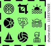 simple 9 icon set of summer... | Shutterstock .eps vector #1135370303