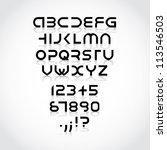 futuristic alphabet font | Shutterstock .eps vector #113546503