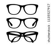 black glasses set. vector retro ... | Shutterstock .eps vector #1135527917