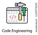 a web page having programming... | Shutterstock .eps vector #1135573253