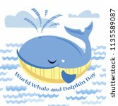 world whale and dolphin day.... | Shutterstock .eps vector #1135589087