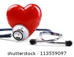 stethoscope and heart  isolated ... | Shutterstock . vector #113559097