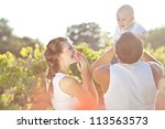 young and happy family get... | Shutterstock . vector #113563573