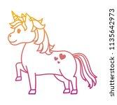 degraded line cute unircorn... | Shutterstock .eps vector #1135642973