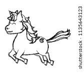 grunge cute unicorn with arrow... | Shutterstock .eps vector #1135643123