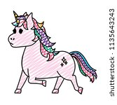 doodle cute unicorn with stars... | Shutterstock .eps vector #1135643243